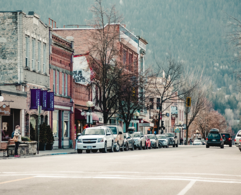 Downtown Nelson, BC in the Fall.